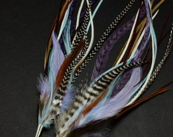 Pastel and Nautral Brown Extra Long Feather Earrings 11-13 inches