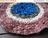 Homespun Patriotic handmade crochet upcycled cotton braided small round rug. Pet Rug Rocking Chair Pad Bath Mat Gingham Red Blue Ivory