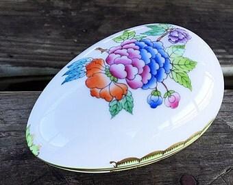 "4.5"" Herend Porcelain Egg Box Queen Victoria Trinket / Bonbon Box"