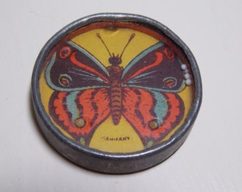 German Dexterty Palm Pocket Game with Mirror Colorful Butterfly