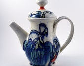 Porcelain Teapot, The Perfect Gift for Tea Lovers Everywhere!  Blue, Turquoise, Chartreuse and Red Porcelain Teapot  with Floral Imagery