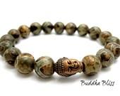 DZI Heaven Eye Agate Buddha Bracelet with Pouch, Meditation, Crystal Healing, Yoga, Buddha, Spiritual, Prayer,