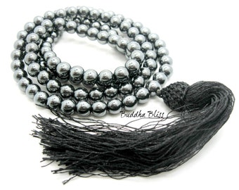 108 Bead Hematite Mala,  Necklace, Buddhism, Prayers, Mantra, Mala, Mens, Ritual, Spiritual,