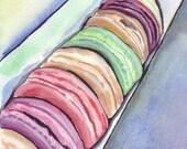 Laduree Watercolor Painting - Macarons Art, Macarons in a Box Watercolor Art Print, 11x14