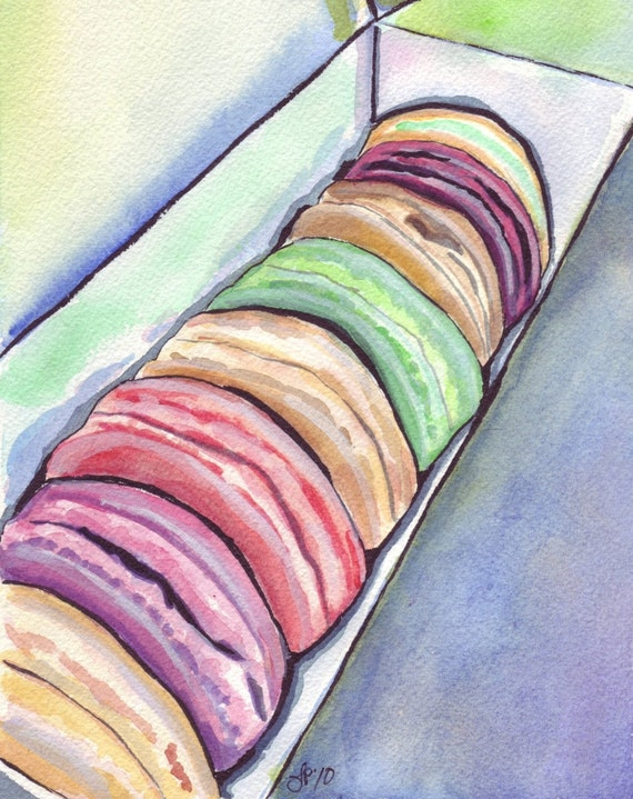 Laduree Watercolor Painting - Macarons Art, Macarons in a Box Watercolor Art Print, 11x14