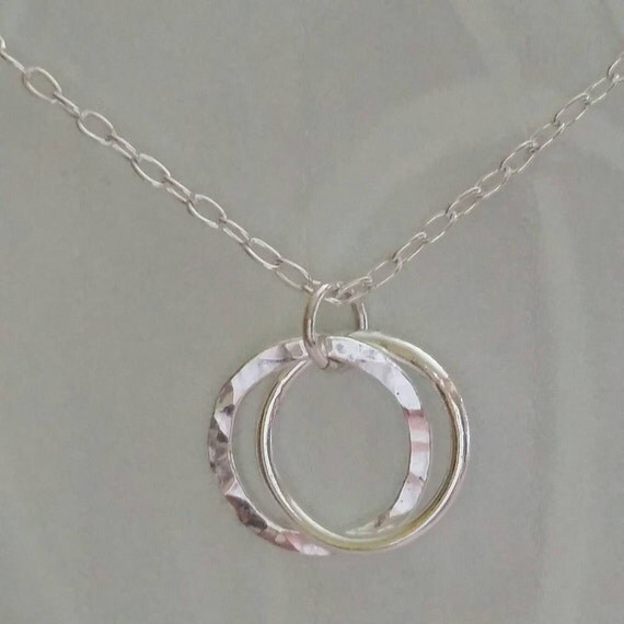 Love necklace, Mother,  Friendship, Sisterhood, Best Friend, Sister Necklace -Two small connected fine silver circles- by dmalia
