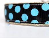 Polka Dot Dog Collar, Black and Blue Dog Collar, Dog Collar, Boy Dog Collar