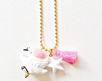 Charm Necklace for Little Girls, Swan with Tassel, WInter Accessories