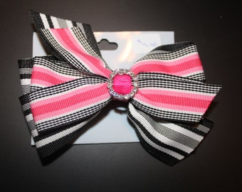 Pink and Black Hair Bow with Rhinestone Center