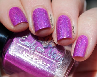 "Nail polish - ""Reset Button"" neon purple linear holographic polish"