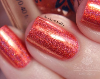 "Nail polish - ""Scorched Earth"" Orange linear holographic polish"