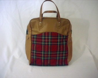 Plaid Picnic Bag Travel Bag Small Suitcase 1960's Red Bag
