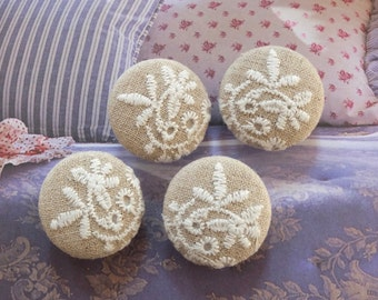 Fabric Covered Buttons - Chic Embroidery White Floral Flower Branches On Beige (4Pcs, 0.98 Inch)