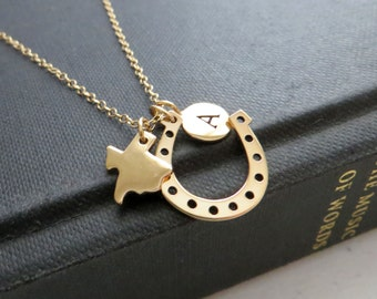 Lucky Texas necklace, horseshoe charm, personalized TX state map, initial necklace, nymetals, dallas, austin, El paso