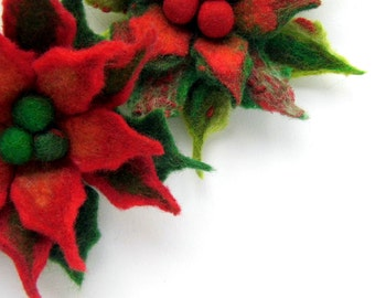 FLOWER Christmas Poinsettia Red green Pin felt  brooch -  green and red, ready to shipGift under 50 USD