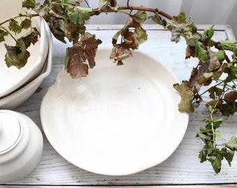 Porcelain POTTERY Platter Bowl hand Thrown, PASTA Bowl, fruit salad, Serving Bowl, ORGANIC Food Safe. French Farmhouse, Jeanne d Arc Living