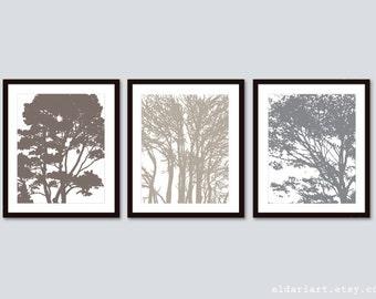 Tree Art Prints - Tree Wall Art - Custom Colors - Modern tree Art -Set of 3 Prints - Aldari Art