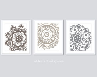 Mandala Wall Art  - Mehndi Flower Art Prints - Modern Decor - Flower Wall Art - Set of 3 - Brown Grey Decor - Aldari Art