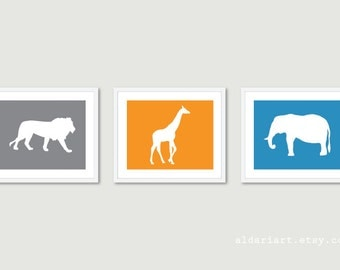 Safari Animals Prints - African Animals Wall Art - Nursery Wall Art Nurser Decor Safari Animals Prints - Custom Colors - Aldari Art