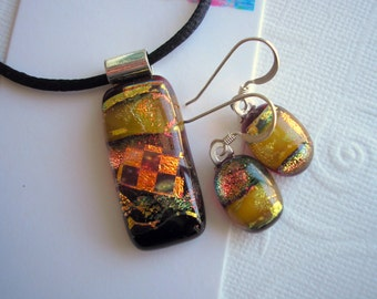 Fused Glass Jewelry Set Browns and Orange with Deep Garnet Dichroic Glass Jewelry Set Earrings & Pendant Iridescent Jewellry Dichro Set