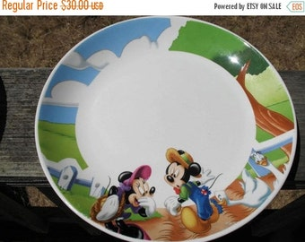 3 Collectible DISNEY Mickey and Minnie Heavy Ceramic Plates with Farm Scene Circa 1980s by Gibson