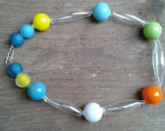 Summer is long and round - Blown glass bead necklace
