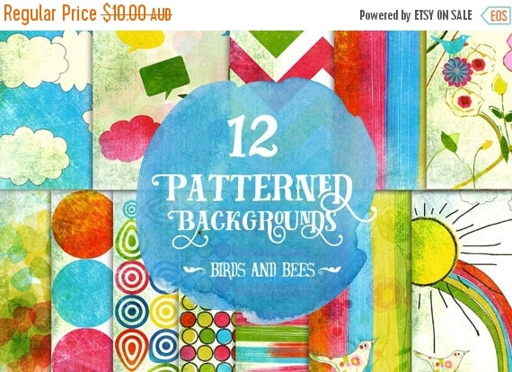 60% OFF Sale Digital paper, Digital Scrapbook paper pack - Instant download - 12 Digital Papers - Sky rainbow and birds