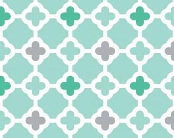 Aqua Green and Grey Geometric Quatrefoil Diamond Flannel, 1 Yard