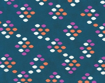 Dark Teal Orange and Pink Diamond Dot Cotton Lawn Fabric, Cookie Book Kimberly Kight for Cotton and Steel, Lawn Drops Candied Fruit, 1 Yard