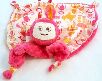 Robot Lovey Blanket, Security Blanket, Soft Baby Toy, Fuchsia Minky Robot Blankie for a Baby Girl
