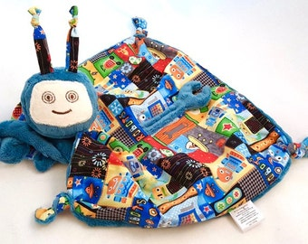 Baby Security Blanket, Robot Lovey Blanket, Soft Baby Toy, Blue Minky Robot Blankie for a Baby Boy, Stuffed Animal, Personalized Baby Toy