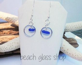 Seaglass Earrings - Pierced Seaglass Earrings - Lake Erie Beach Glass - Sterling Earrings - FREE Shipping inside the United States