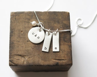 Mixed Shapes - Family Necklace Hand Stamped Sterling Silver Kids Parents Initials by Betsy Farmer Designs