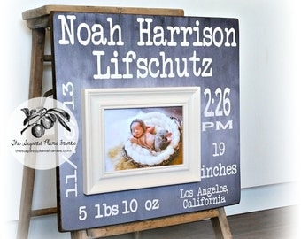 Baby Gifts Personalized, Baby Gifts for Boys, Baby Gifts for Girls, Baby Gift Ideas, Birth Stats Frame Wall Art 16x16 The Sugared Plums