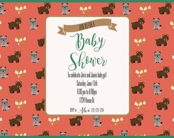 Woodland Critter Baby Shower Invitation