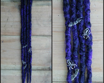 Creepy Clip in Crochet Synthetic Dreads - Purple black bats spiders