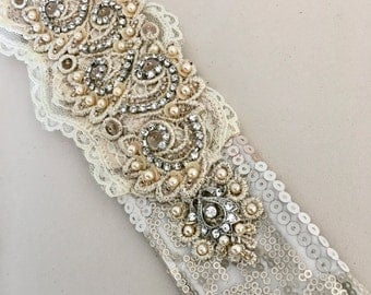 Cream Rhinestones Lace Belt