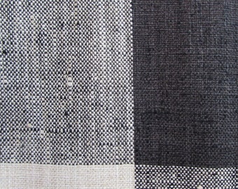 very french RUSTIC WOVEN buffalo check black/cream linen/ lots of textures tweed multipurpose fabric