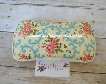 Vintage Inspired Rose and Blue Travel Baby Wipe Case, Personalized Wipecase, Diaper Wipes Case, Baby Shower Gift,  Diaper Bag Wipe Clutch