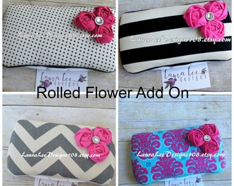 ADD ROLLED FLOWERS with Rhinestone Embellishment to a Wipe Case Travel or Nursery Size