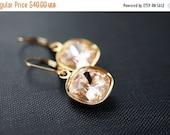 14OFFSALE Earrings, Gold Earrings, Crystal Earrings, Champagne Earrings, Swarovski Crystal, Cushion Cut, Swarovski Silk, Pale Peach, No. EGL
