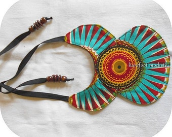 One of a Kind African Wax Print Collar, Unique statement Bib necklace, Vibrant African collar, Ankara NeckCuff, B Modiste Handmade, One Size