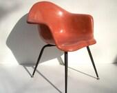 Vintage Chromcraft Fiberglass Shell Chair / Mid Century Modern / Eames Era / Salmon Pink Shrimp Color / Black X Leg / LAST ONE