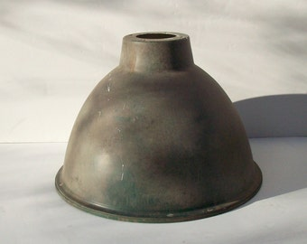 Vintage Industrial Light Shade / LARGE Aluminum Bell / Industrial Lighting / Weathered Aged Distressed Patina / Vintage Lighting Supply