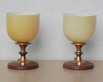 Pair Small Torchier Lamps in Copper, Wood Cream Colored Glass