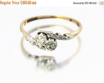 SUMMER SALE Vintage Ladies Diamond Cross Over Engagement Ring Gold Platinum 9ct 9k | FREE Shipping | Size O.5 / 7.5