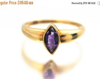 XMAS SALE Vintage Gold Amethyst Engagement Ring Solitaire Marquise 9ct 9k Yellow Gold | FREE Shipping | Size O / 7.25