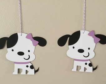 Puppy dog Oversized goodie bag tags birthday party puppy dog purple bow