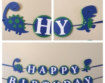 Blue and green dinosaur Happy Birthday Banner Ready to ship dinosaur T. rex  birthday party decorations