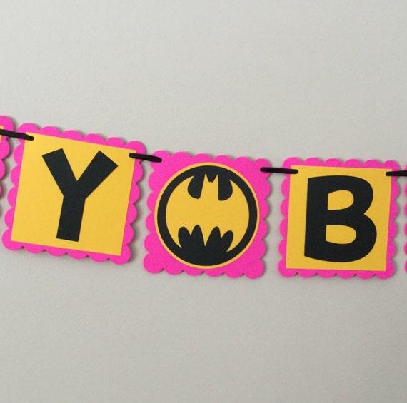 Batman Pink And Yellow Happy Birthday Banner Batgirl By